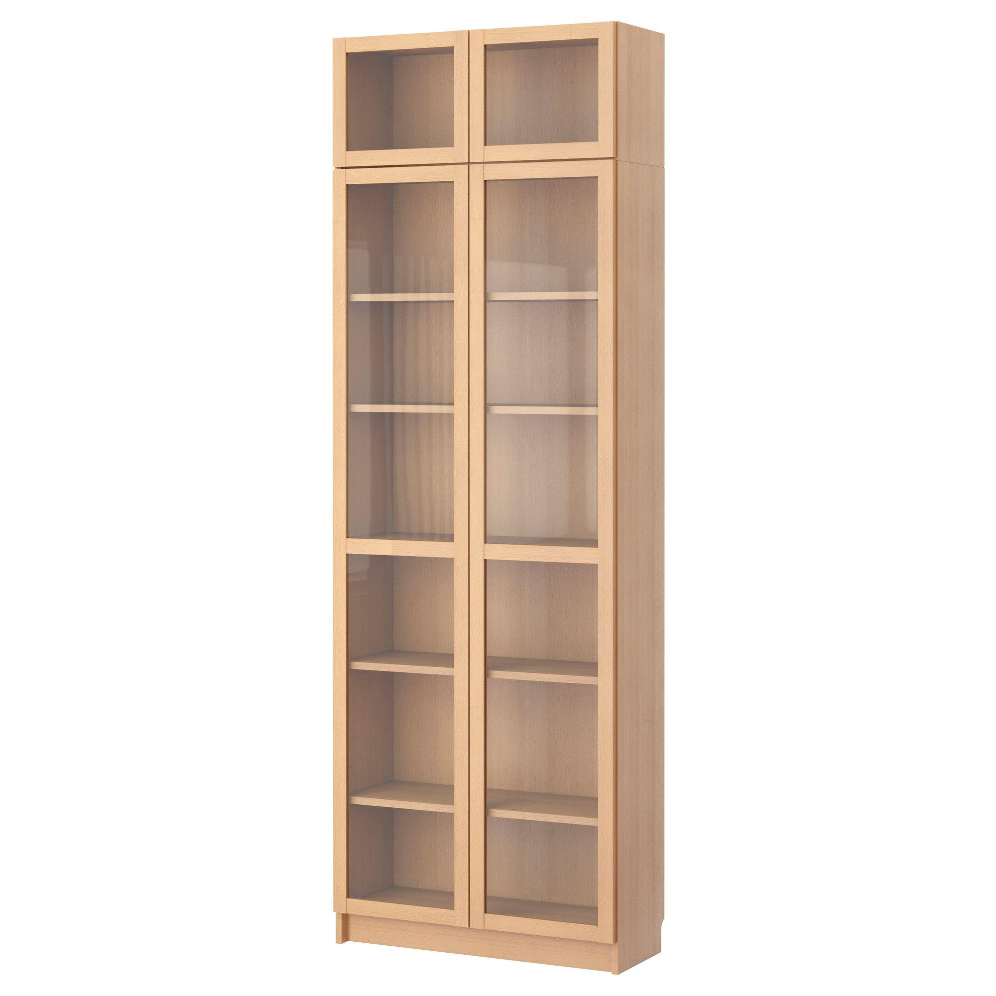 Billy estanter a con puerta de vidrio chapa haya ikea for Ikea estanteria billy con puertas
