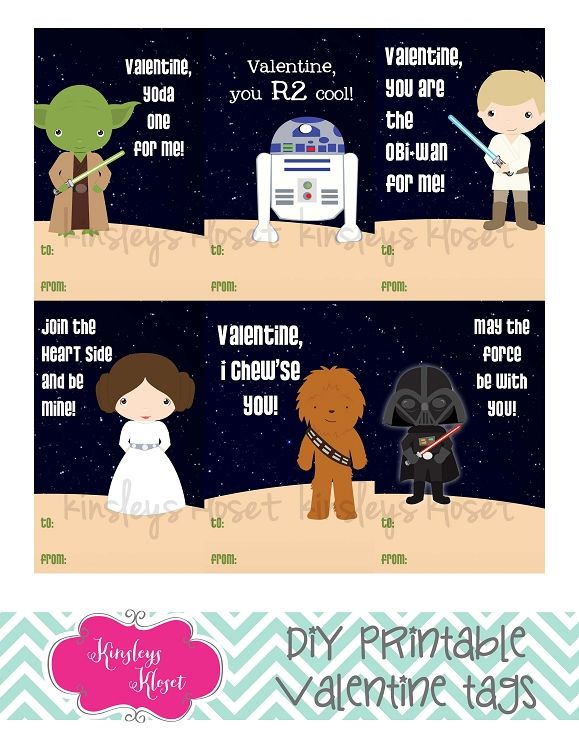 Printable Valentine Cards Star Wars Valentine Tags Obi Wan Kenobi, R2D2,  Darth Vadar, Yoda | Valentines | Pinterest
