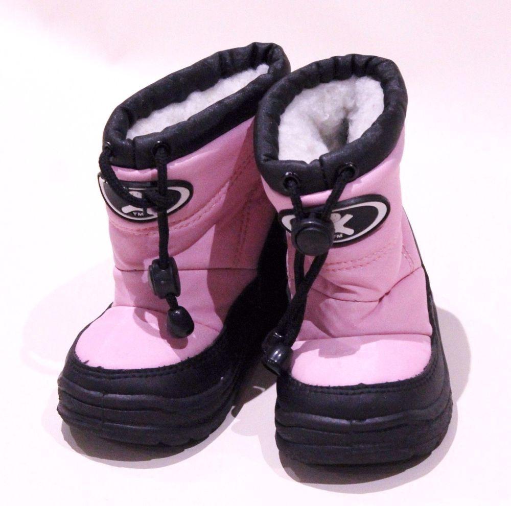 SOLD === OKCO BABY GIRLS JNR SKI SNOW BOOTS TODDLER SIZE 6 USA 22 EUR PINK BLACK RP$70 EX #OKCO