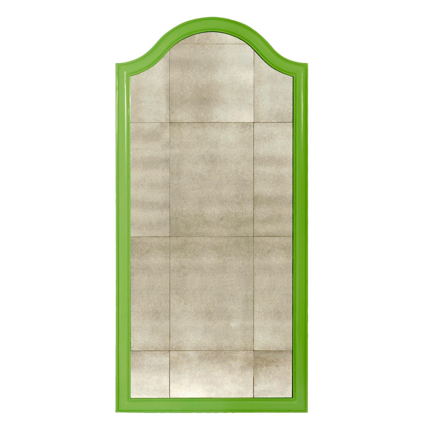 Charlotte Mirror In Green By Bungalow 5. Lacquer Finish Frame With Antique  Glass. # Design