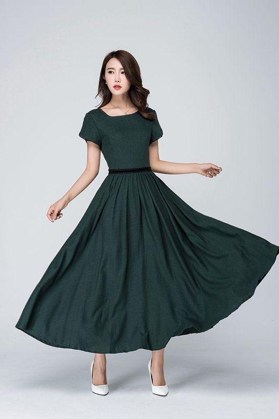 fe95afd47cd Prom dress emerald green dress linen dress short sleeves
