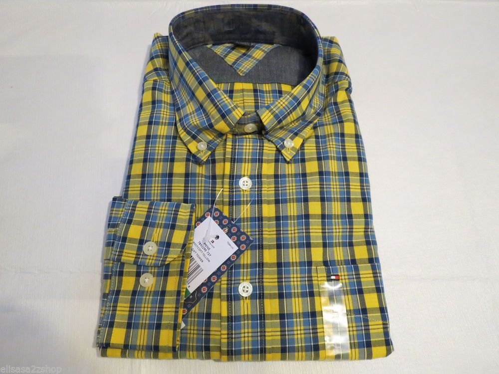Tommy Hilfiger dress shirt long sleeve 7842290 westcott yellow 737 L plaid Mens #TommyHilfiger #ButtonFront
