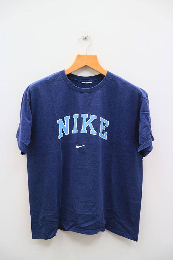 7d4b1caf99005 Vintage NIKE Sportswear Big Spell Small Logo Blue Tee T Shirt in ...