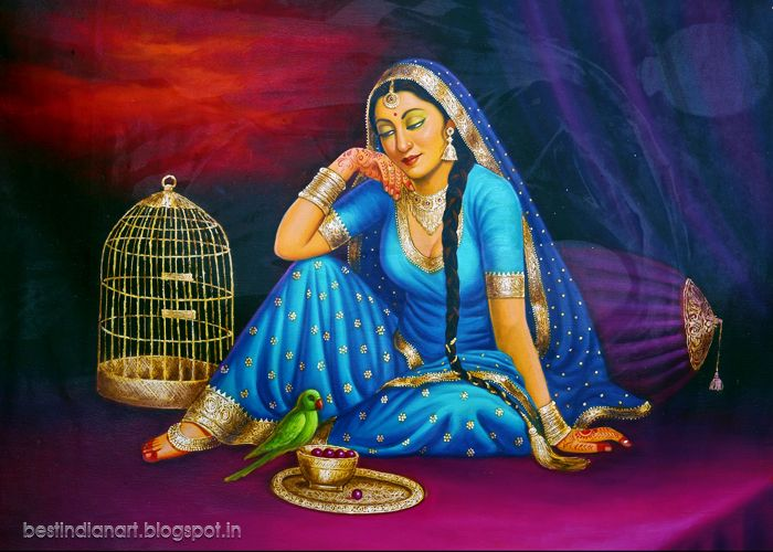 Indian Woman With Her Parrot Indian Paintings Rajasthani Painting Cute Paintings