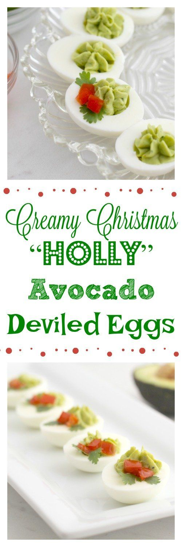 Creamy Christmas Holly Avocado Deviled Eggs #deviledeggs