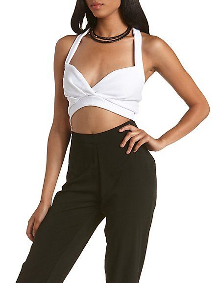 Wrapped Halter Bra Crop Top: Charlotte Russe #croptop