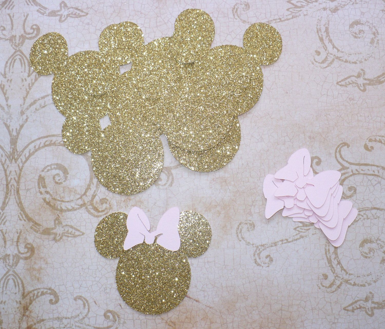 Baby Minnie Gold Glitter Mouse Head Shapes Princess Pink Bows Die Cuts for Cupcake Picks Baby Showers DIY Kids Crafts Birthday Party Tags by sandylynnbscrapping on Etsy https://www.etsy.com/listing/240843046/baby-minnie-gold-glitter-mouse-head