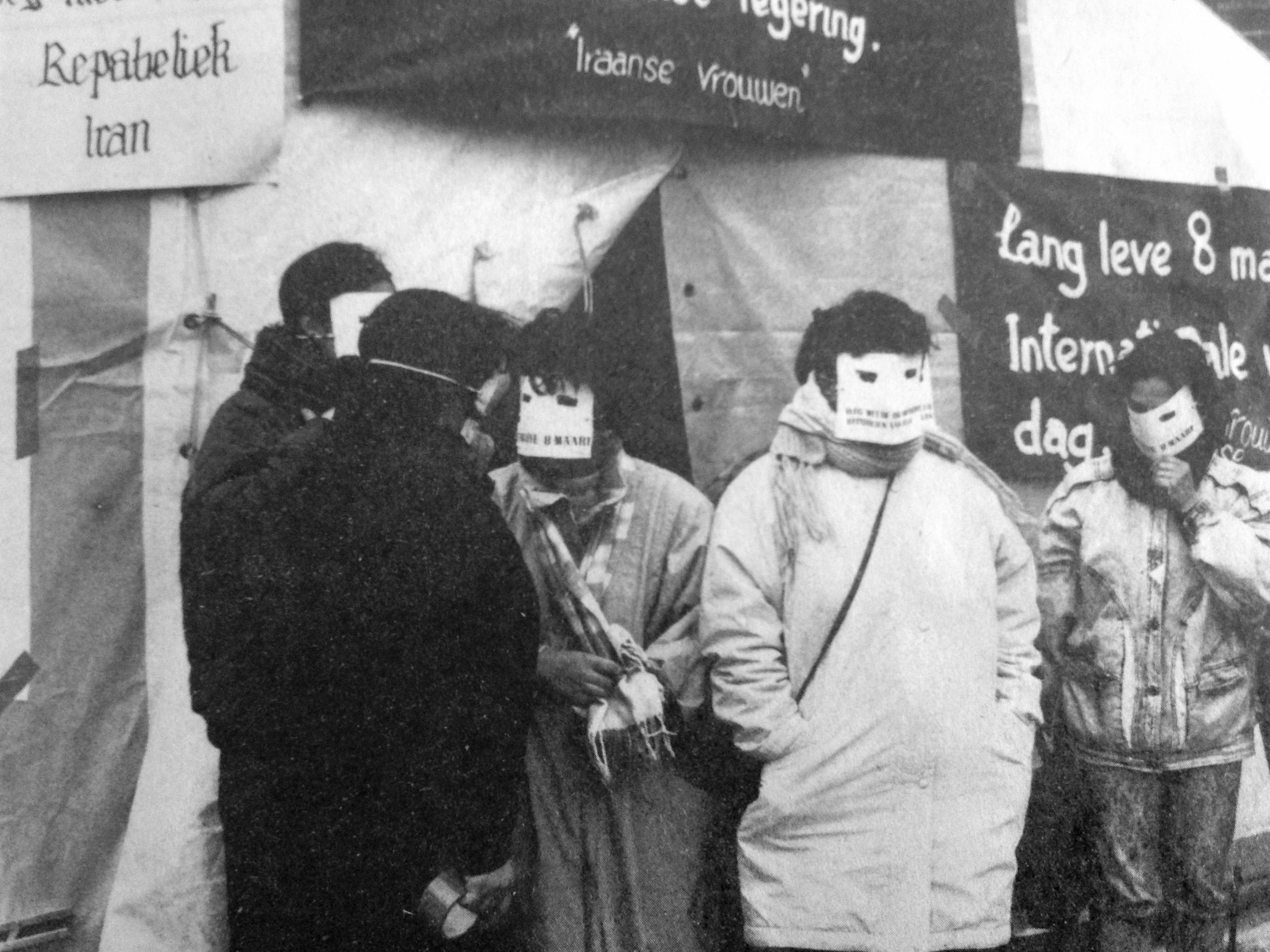 Iranian women on woman's day. The Netherlands, march 8, 1991.