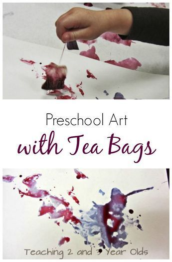 Preschool Art with Tea Bags #creativeartsfor2-3yearolds