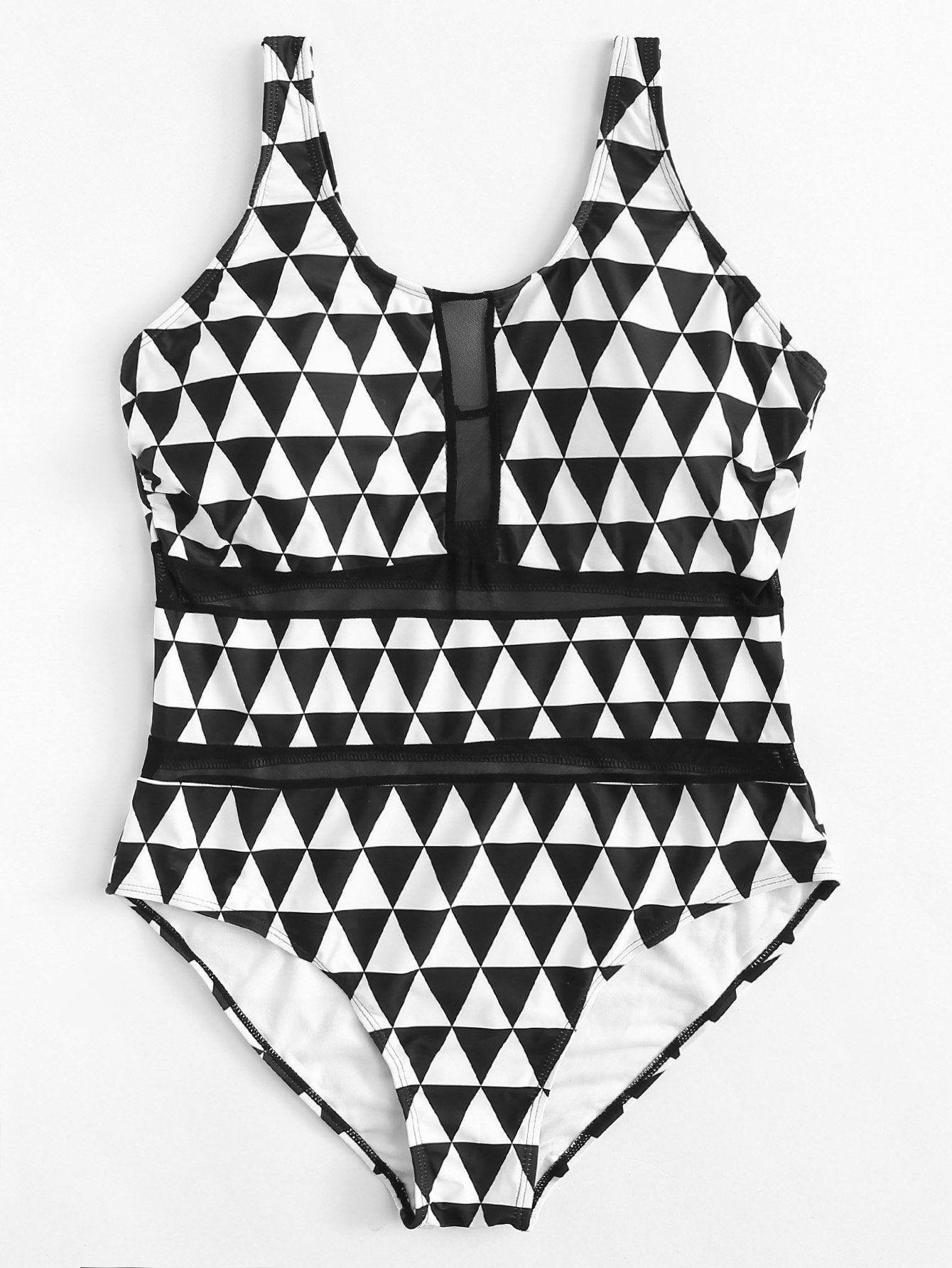 d4827692e946f Triangle Print Swimsuit -SheIn(Sheinside) | plus size clothes ...