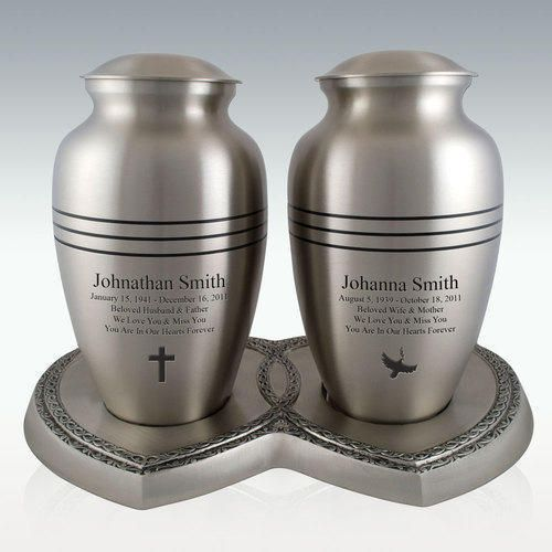 Classic Pewter Companion Cremation Urns With Heart Base Cremation Urns Companion Urns Urn
