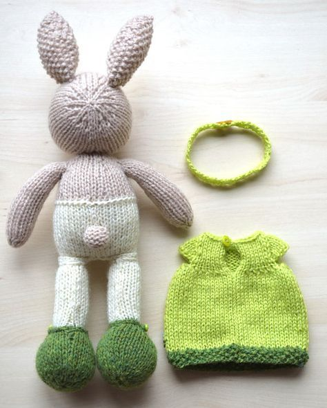 Hand knit easter bunny girl soft toy knitted little easter bunny hand knit easter bunny girl soft toy knitted little easter bunny cotton dress rabbit cute stuff animal gift easter bunny bunny and easter negle Gallery