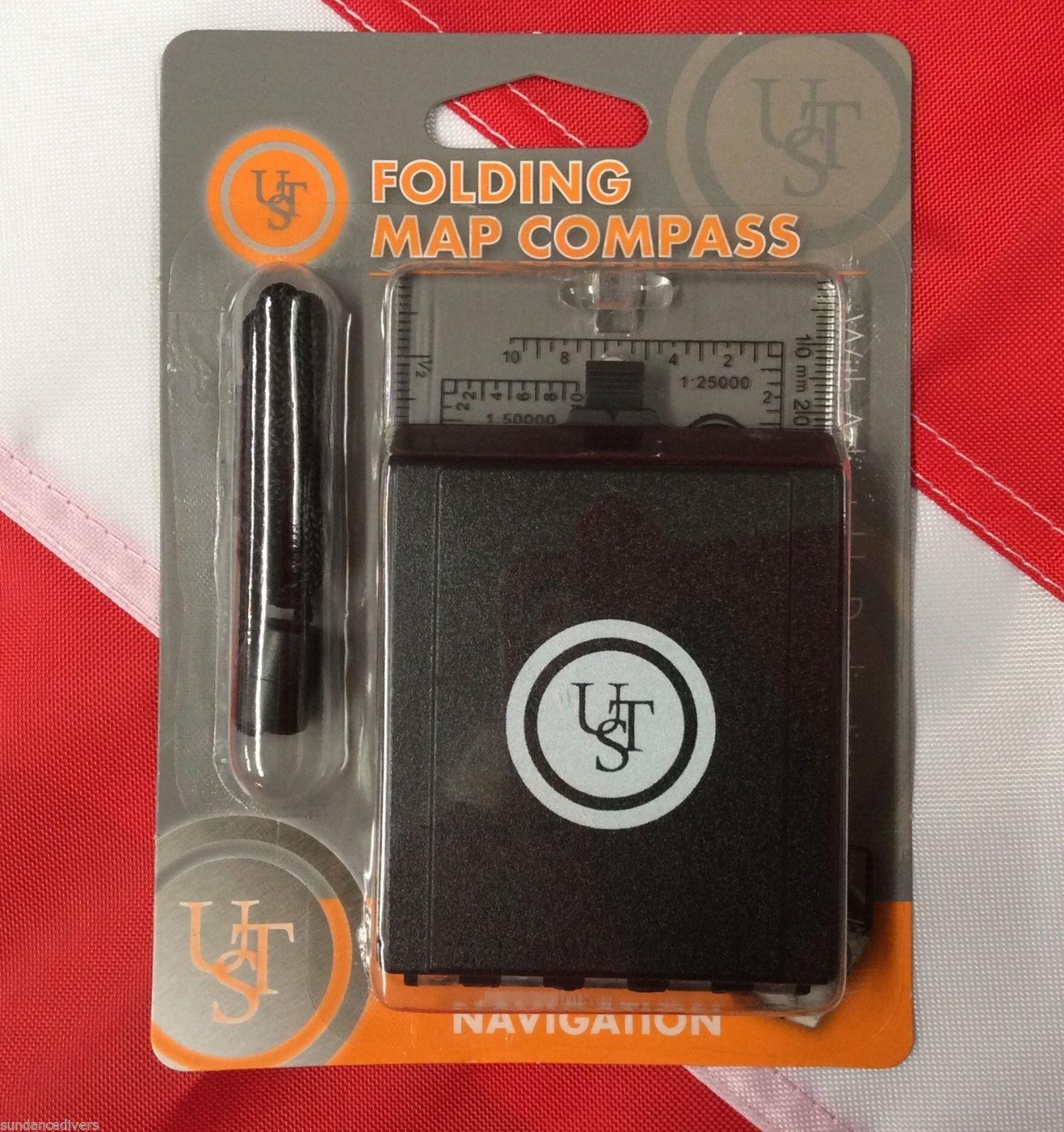 UST Folding Map Compass Black