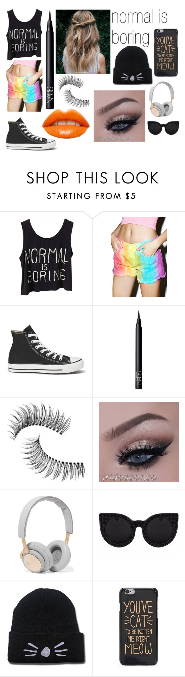 """""""normal is boring"""" by sackclothanddashes on Polyvore featuring Cosmic Unicornz, Converse, NARS Cosmetics, Trish McEvoy, B&O Play, Delalle and whennormalpeoplesuck"""