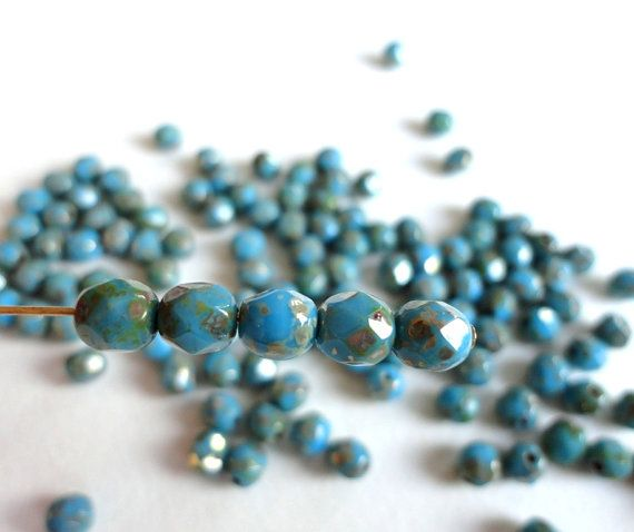 Opaque Blue Czech Glass Beads Witha Picasso 6mm  Fire by Snoochy, £1.45