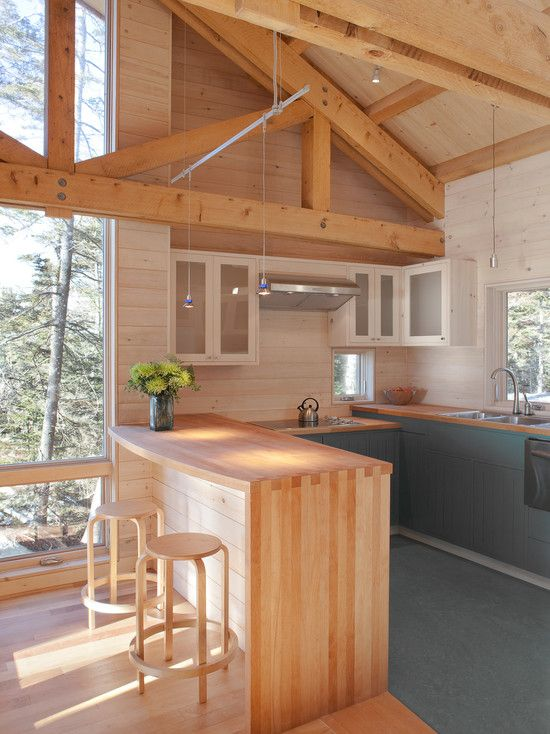 Pine Ceiling Design Pictures Remodel Decor And Ideas Page 19 Small Cabin Kitchens Pine Kitchen Washed Pine Walls