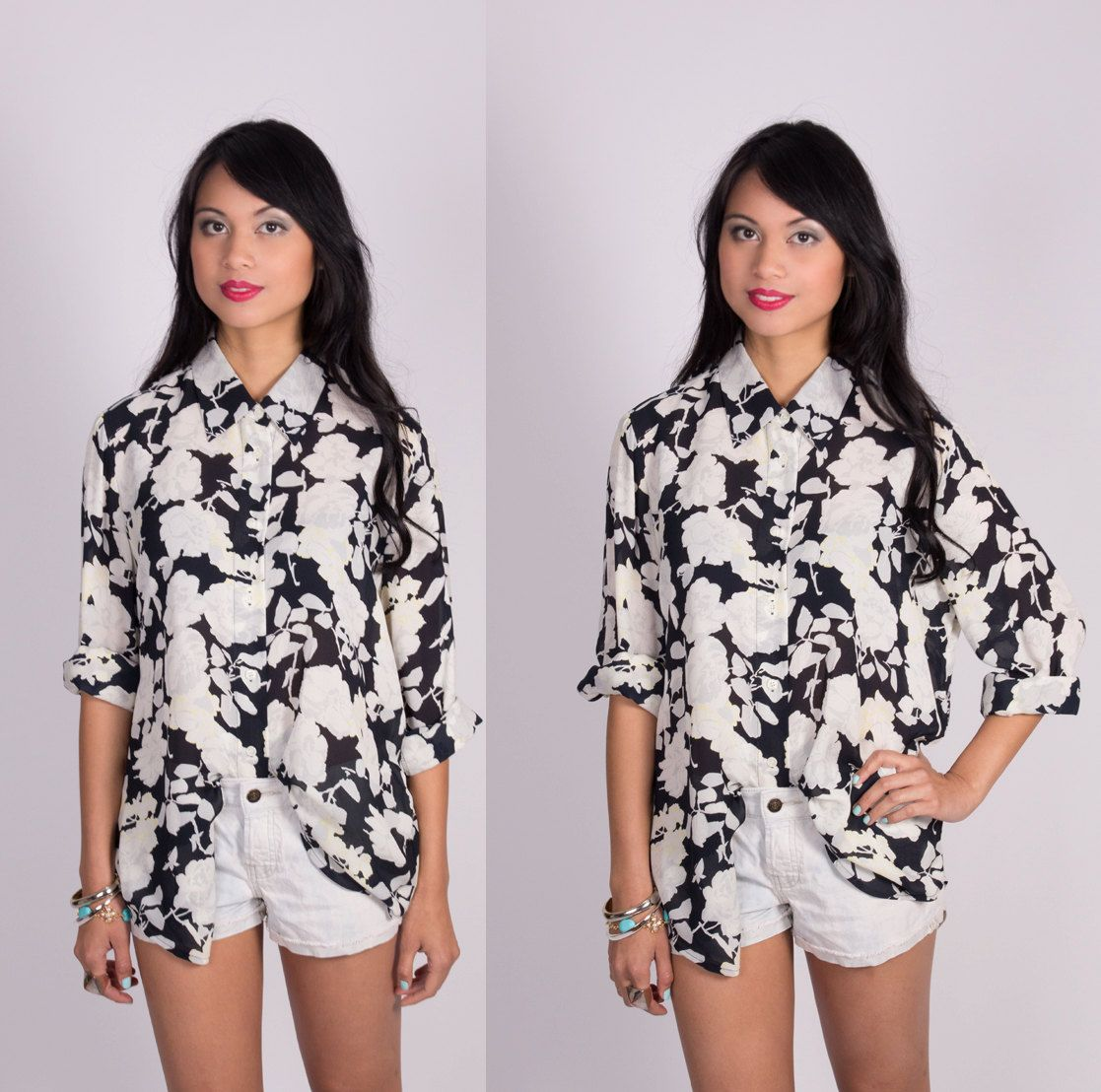 Vintage SILK Floral Blouse Black and White by lapetitemarmoset, $29.99