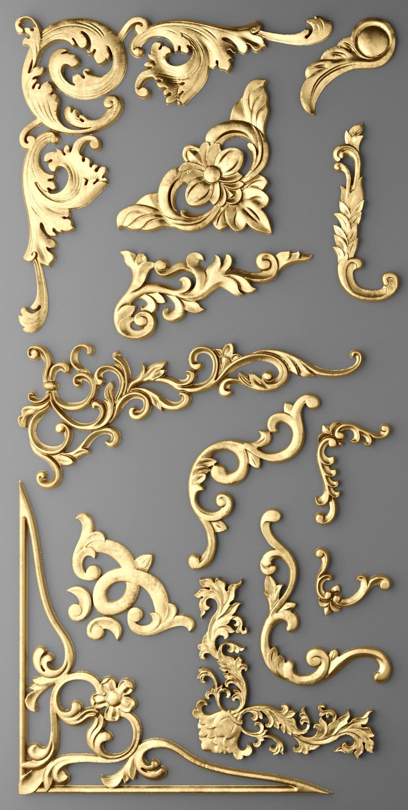cartouches set 3d model | herreria | Pinterest | Ornamentos ...