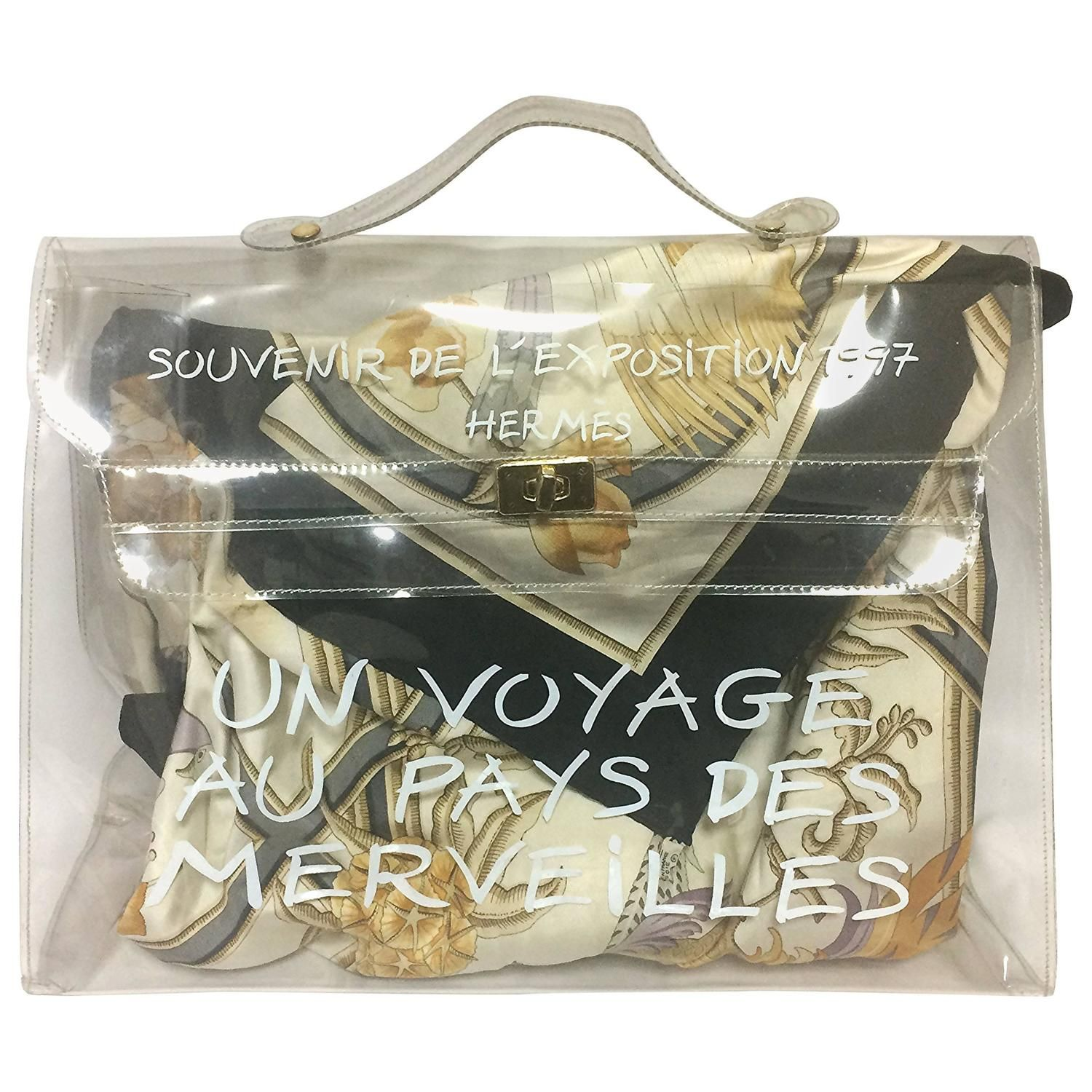 6b6b79154a71 400 Vintage Hermes a rare transparent clear vinyl Kelly bag