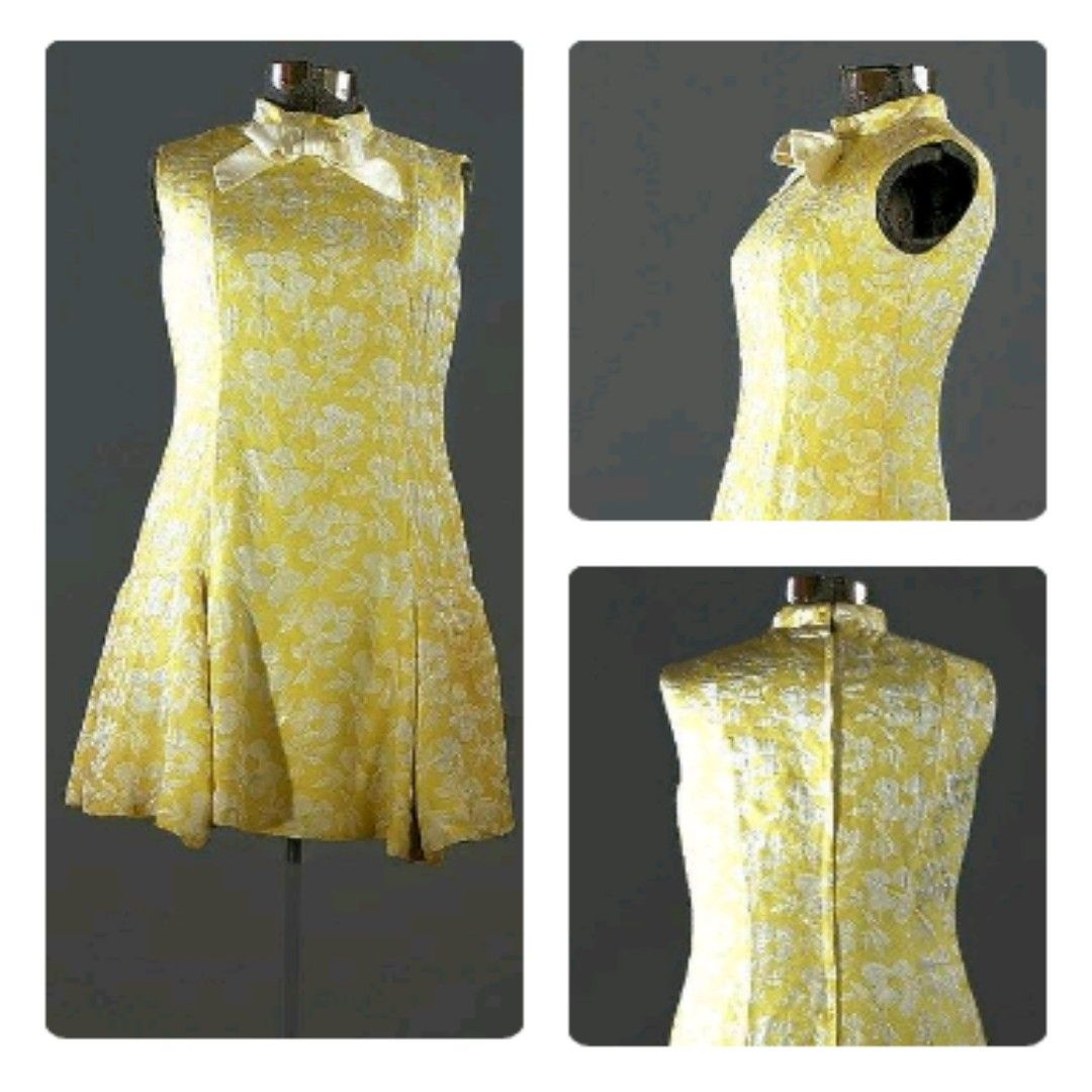 Saks Fifth Ave 1960 Brocade Scooter Dress Just In Yellowdress Vintage1960dress Yellowcotton Scooter Dress Vintage Clothing Online Vintage Clothing Stores