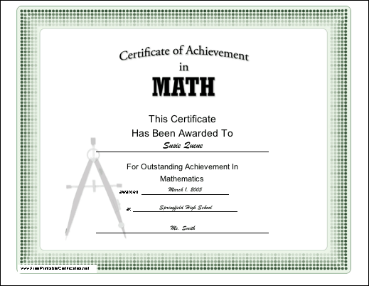 A Certificate Of Achievement In Mathematics Appropriate For Grade