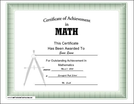 Sample school certificate free certificate of appreciation a certificate of achievement in mathematics appropriate for grade yadclub Gallery
