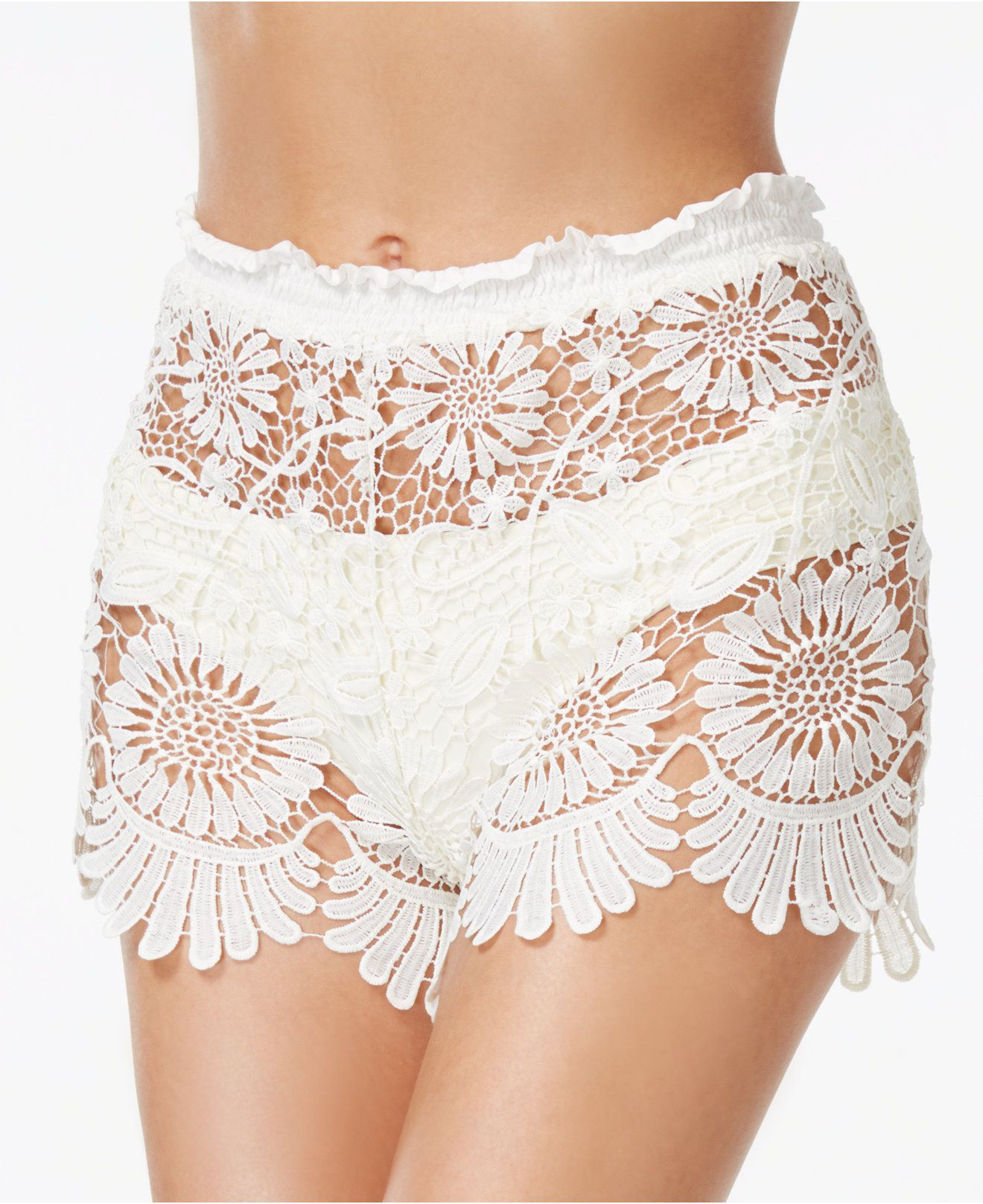7ebd7ac281 Jessica Simpson Sheer Lace Cover-Up Shorts - Swimwear - Women - Macy's