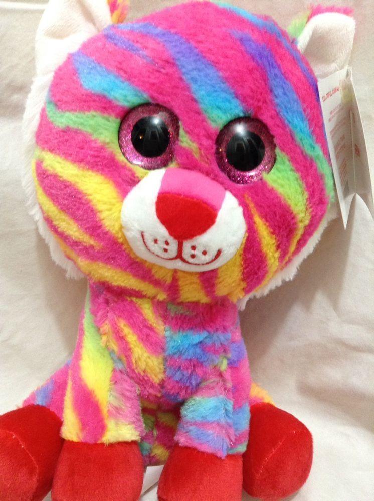 Hugfun Sparkle Eye Normous Pink Rainbow Kitty Cat Tiger Plush