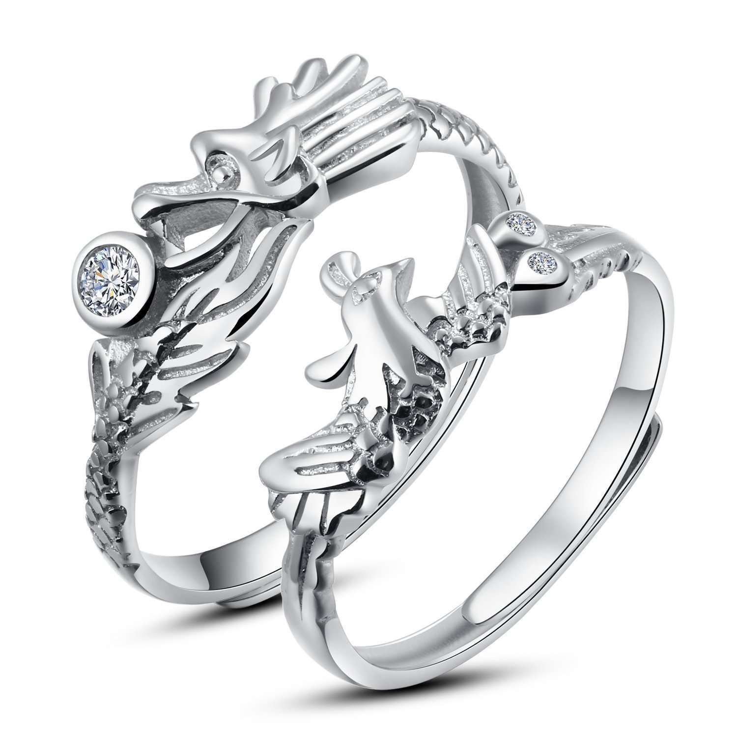 Rosemandy Sterling Silver Resizable Dragon And Phoenix Couples Promise Rings Wedding Engagement