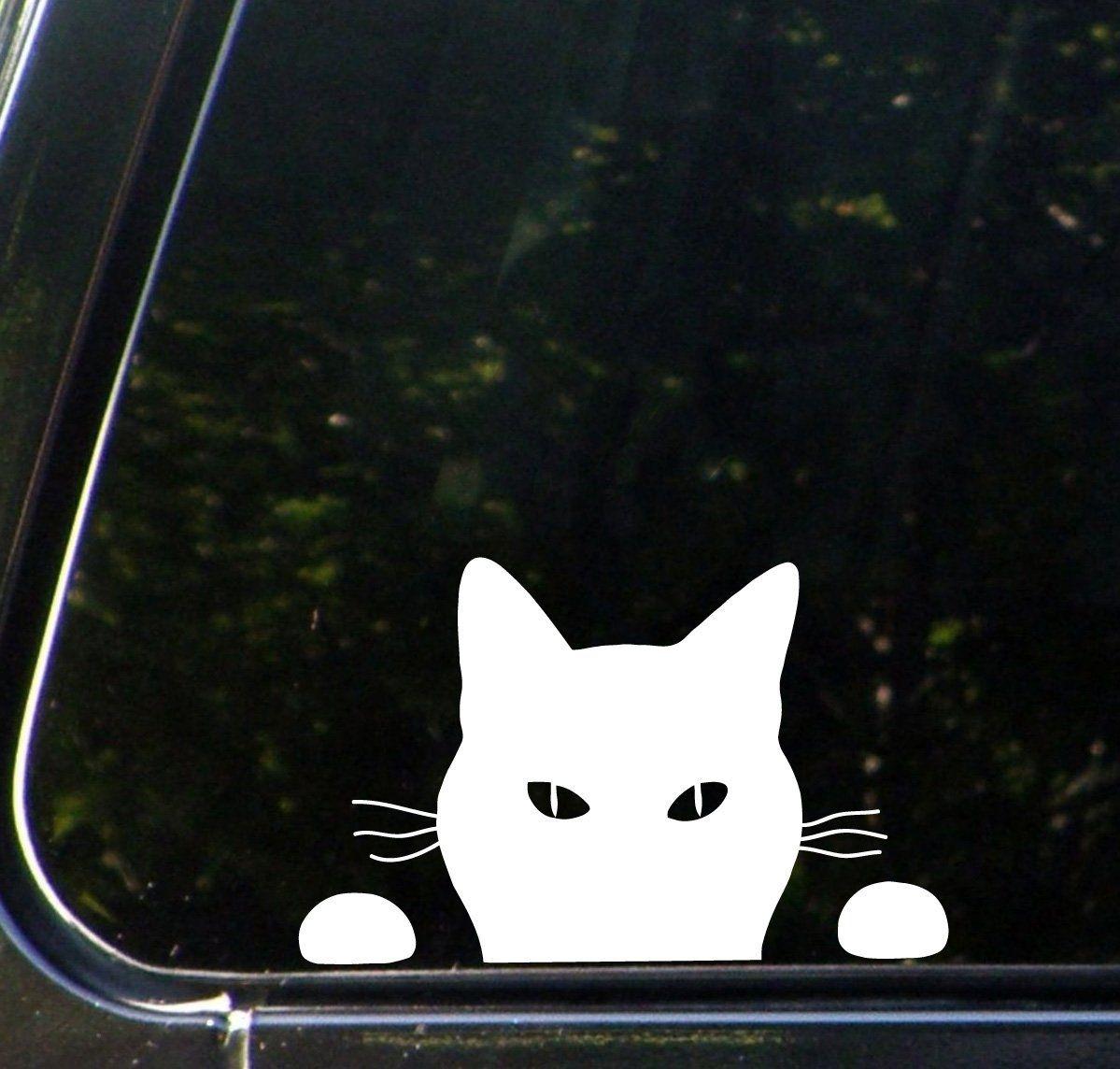 Amazon Com Cat Watching Car Vinyl Decal Sticker 7 25 W X 4 5 H Copyright C Yadda Yadda Design Co White Au White Cat Car Decals Vinyl Kitten Stickers [ 1144 x 1199 Pixel ]