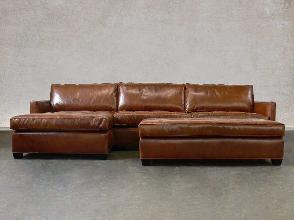Combine Timeless With New Styling The Arizona Leather Sectional Sofa Slim Track Arm Lines And Tufted Bottom Seat Cushions Give This