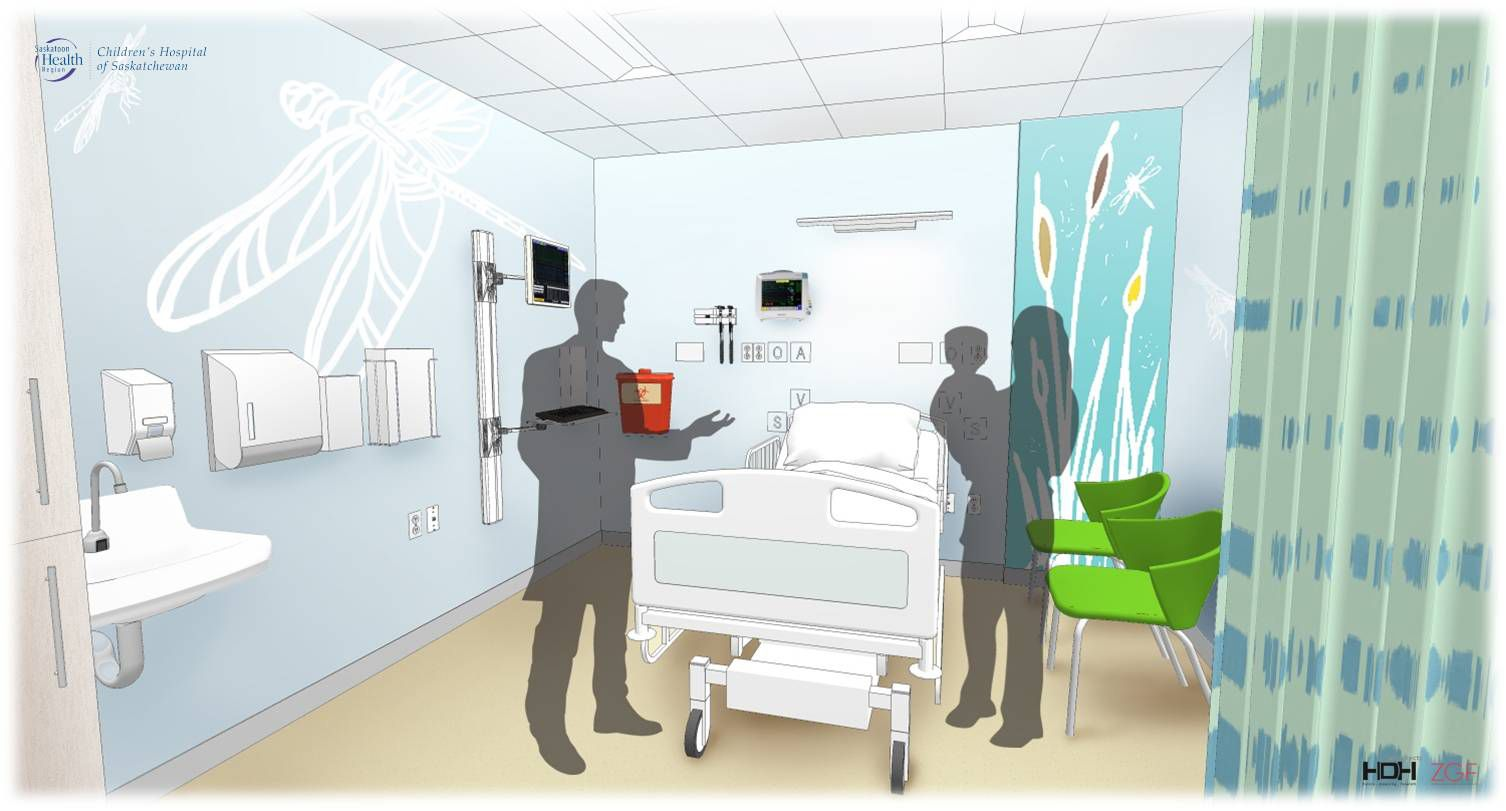Drawing of new children's emergency exam room. Description