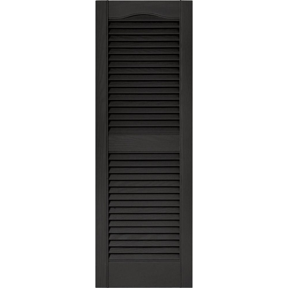 Builders Edge 15 In X 43 In Louvered Vinyl Exterior Shutters Pair In 002 Black 010140043002 The Home Depot Shutters Exterior Builders Edge Vinyl Exterior