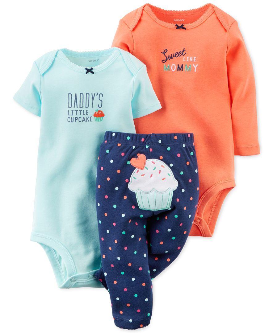 ba9a1a1f4311 Carter's Baby Girls' 3-Piece Sweet Bodysuits & Pants Set | Baby ...