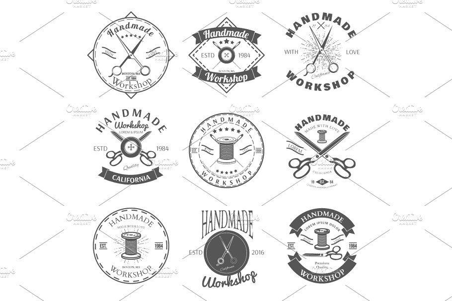Handmade Workshop Logo Vintage Set In 2020 Vintage Logo Handmade Logo Sewing