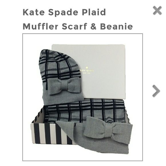 Kate Spade plaid scarf & beanie box set Cute winter accessory box set includes scarf and matching beanie. Scarf is long and straight, cannot measure because of tags keeping it folded. Comes in original box (light scuffs on packaging pictured). Price is firm. NO TRADES/PP. Lmk if you have questions kate spade Accessories Scarves & Wraps