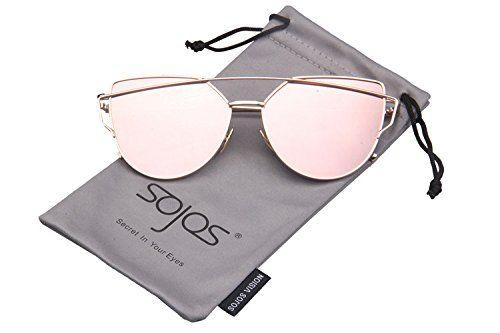 b8281eeb3bd5 SojoS Cat Eye Mirrored Flat Lenses Street Fashion Metal Frame Women  Sunglasses SJ1001   Price   12.99   FREE Shipping     hashtag4