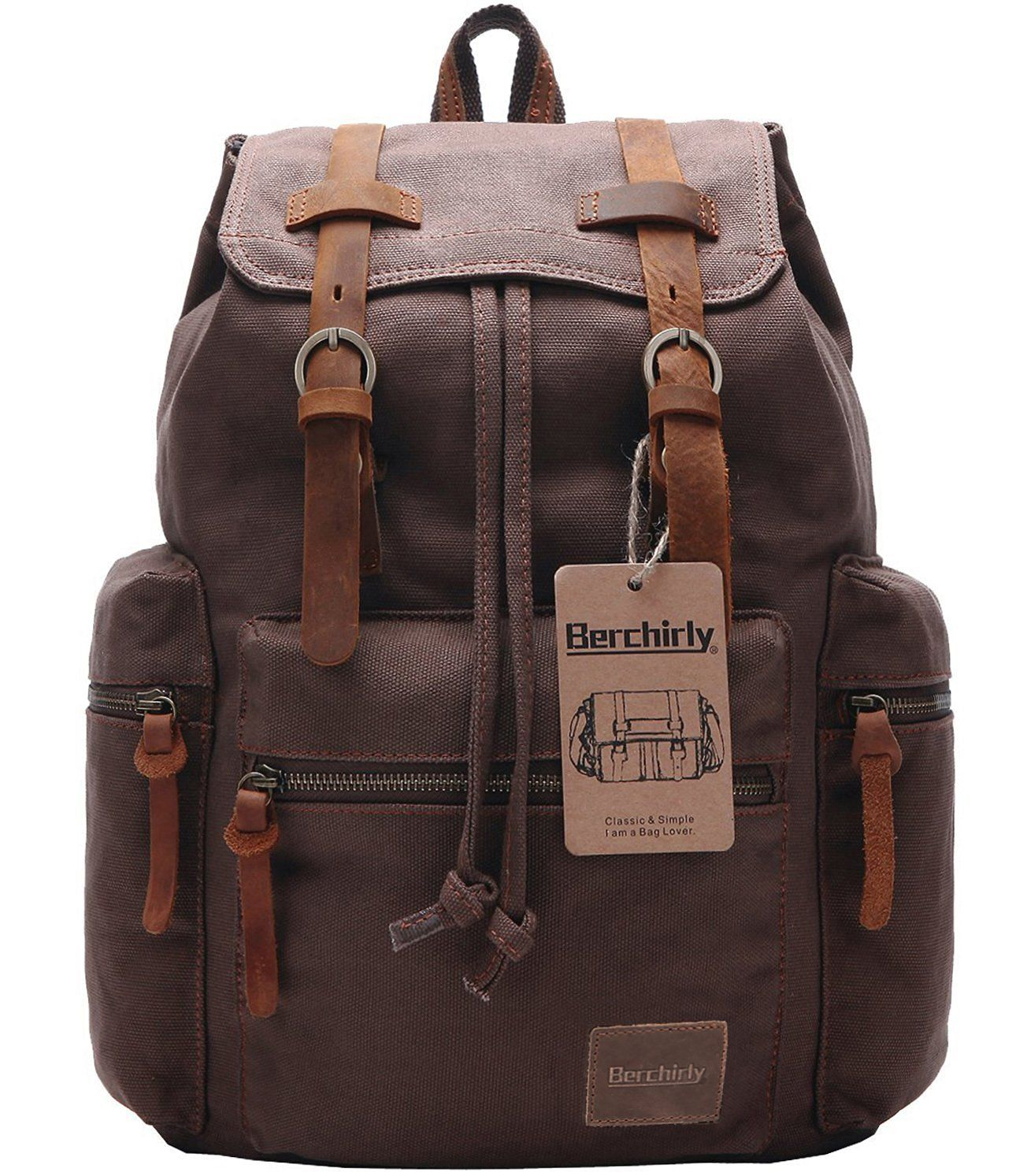 396ed9b10a Berchirly Vintage Men Casual Canvas Leather Backpack Rucksack Bookbag  Satchel Hiking Bag     See this great image   Travel Backpack