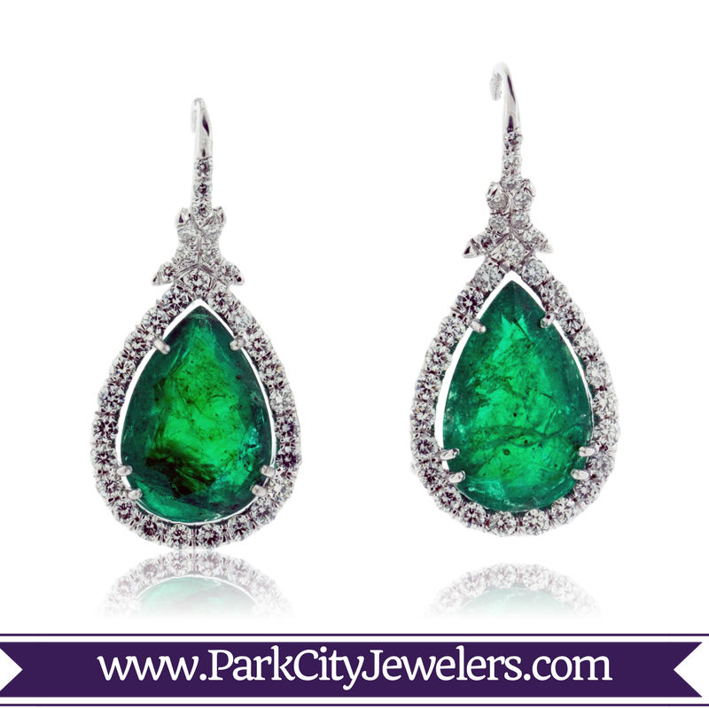12030a989 Pear Shaped Emerald and Diamond Dangle Earrings | Products ...