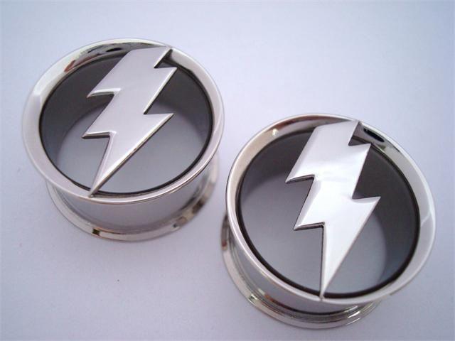 00 Gauge Yellow Acrylic Lightning Bolt Taper – BodyCandy  |Lightning Bolt Gauges