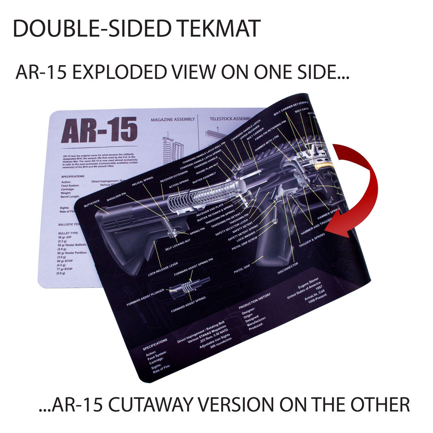 hight resolution of tekmat ar 15 cleaning mat 12 x 36 thick durable waterproof long gun cleaning mat with parts diagram and instructions armorers bench mat price 13 98
