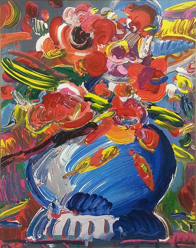 PETER MAX - FLOWERS IN A BLUE VASE Size 37 X 30 INCHES Year 1995 - new certificate of authenticity painting