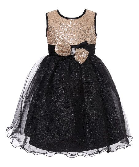 9a75d4abd19bd Richie House Black & Gold Sequin Glitter Overlay Dress - Kids ...
