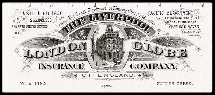 Liverpool London Globe Insurance Company Sheaff Ephemera
