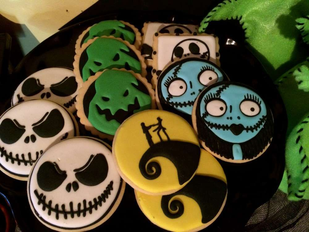 decorated cookies at a tim burton halloween party see more party planning ideas at catchmyparty