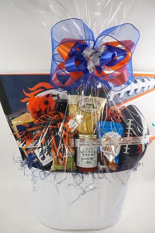 Bronco Pride! Make all the heads turn at your Bronco's party or tailgate event with this Bronco's gift basket, whether it's sharing snacks or tossing around ...