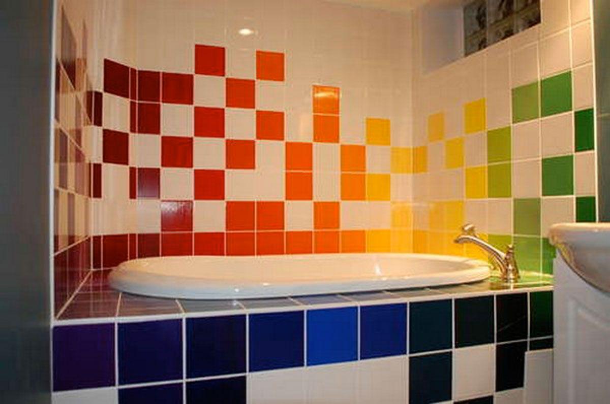 Bathroom, Sweet Rainbow Bathtub Bathroom Designs: Cute Oval ... on