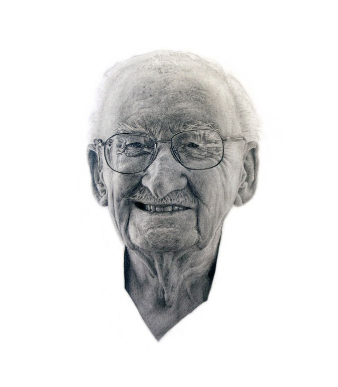 "Saatchi Online Artist: Jonny Shaw; Pencil, 2007, Drawing ""96 Years"""