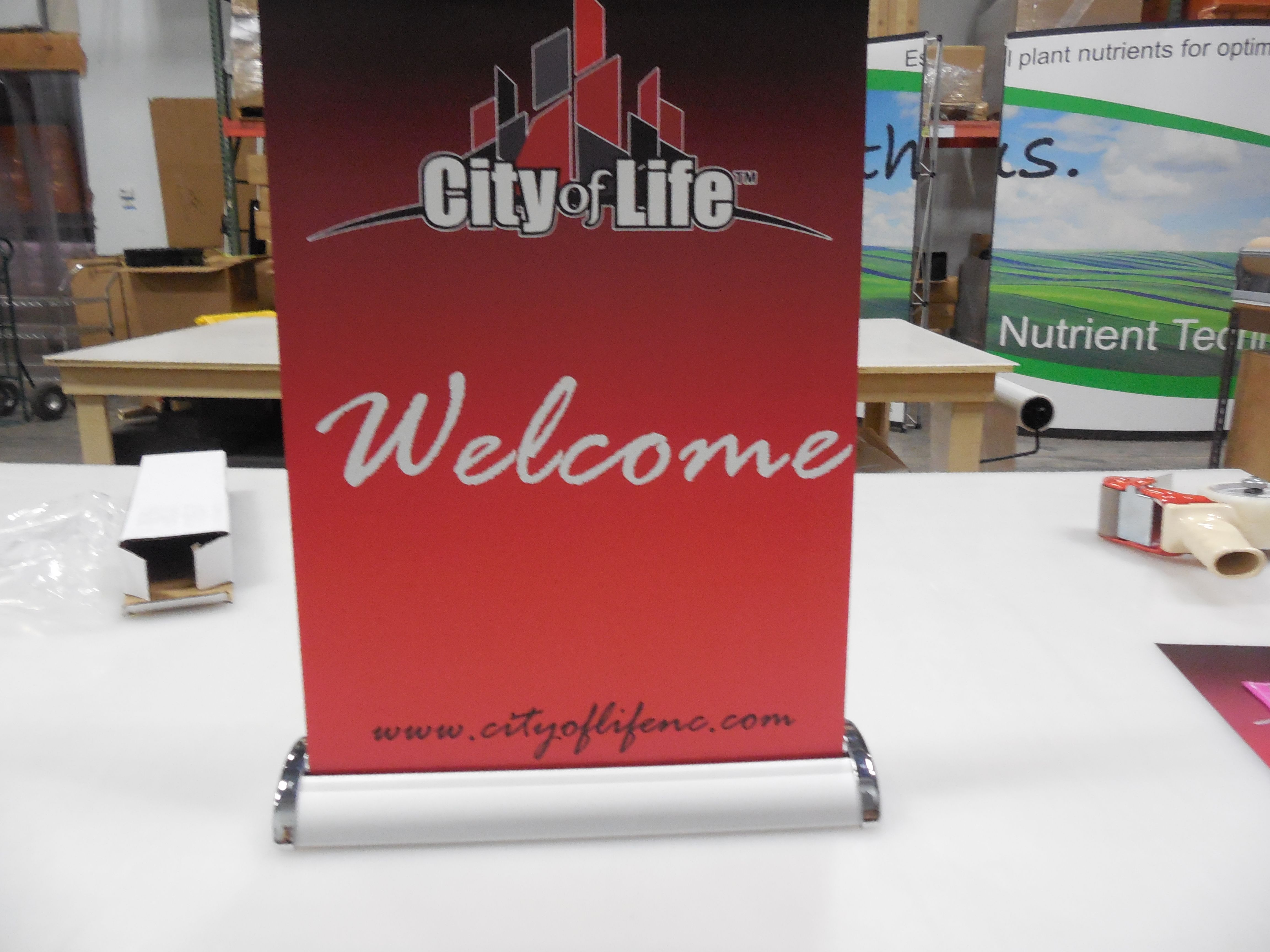 Miniature retractable stand up banner coffee counter church ideas the table top mini retractable is only tall perfect for a welcome booth or coffee counter create the welcome in a big way with a small sign kristyandbryce Images