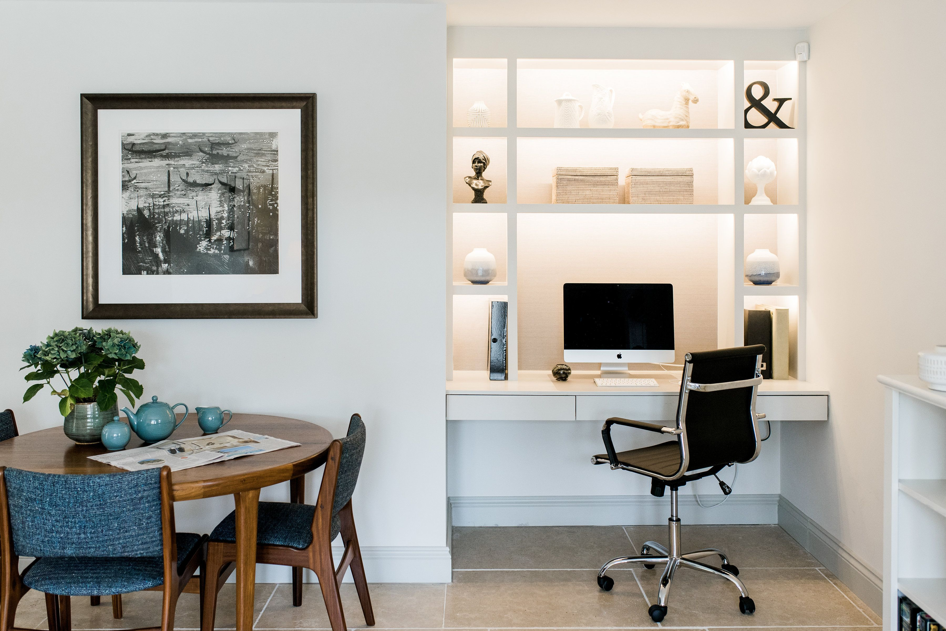 Mid-Century modern home office and open plan living space in ...